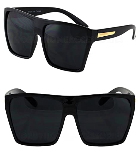 307ab4217b3 Amazon.com   XL Vintage Wayfarer Aviator Retro Flat Top Oversized Square  Sunglasses Man Woman Black Gold   Everything Else