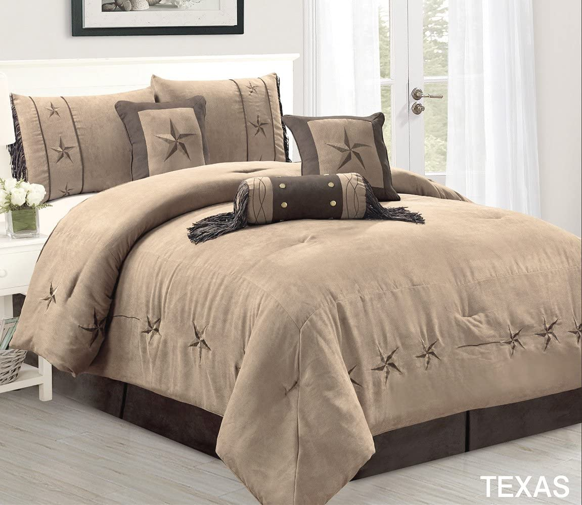 "7 Piece Taupe/Brown/Gold Bedding Oversize RUSTIC TEXAS Lone Star (California) Cal King Size (106""X 96"") Comforter Set Micro Suede Western Decor Lodge Bed In A Bag"