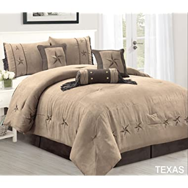 7 Piece Taupe/Brown / Gold Bedding Oversize Rustic Texas Lone Star King Size (106 X 96 ) Comforter Set Micro Suede Western Decor Lodge Bed in A Bag