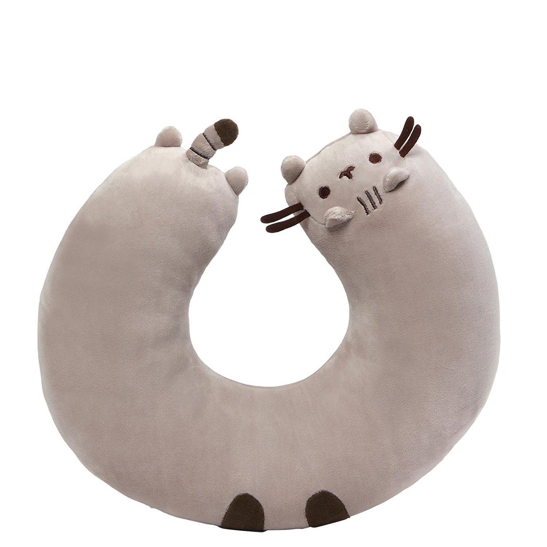 GUND Pusheen Cat Plush Stuffed Animal Travel Neck Pillow, Gray, 11''