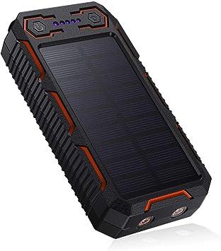 POWERADD 26800mAh Cargador Solar Portátil, Batería Externa, Salida 5V/3.2A*2 Panel Solar con Alta Eficiencia de Conversión Impermeable Inteligente Color Naranja y Negro.: Amazon.es: Electrónica