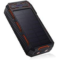 POWERADD 26800mAh Cargador Solar Portátil, Batería Externa, Salida 5V/3.2A*2 Panel Solar con Alta Eficiencia de Conversión Impermeable Inteligente Color Naranja y Negro.