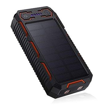 POWERADD 26800mAh Cargador Solar Portátil, Batería Externa, Salida 5V/3.2A*2 Panel Solar con Alta Eficiencia de Conversión Impermeable Inteligente ...