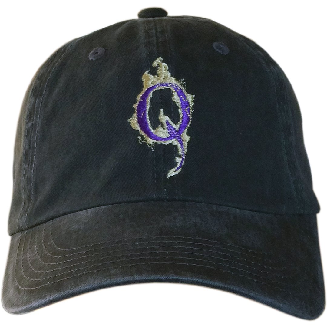 Q Purple & Gold Custom Logo Hat Q Anonymous QAnon Cap (Distressed Black Hat W/Purple & Gold Q)