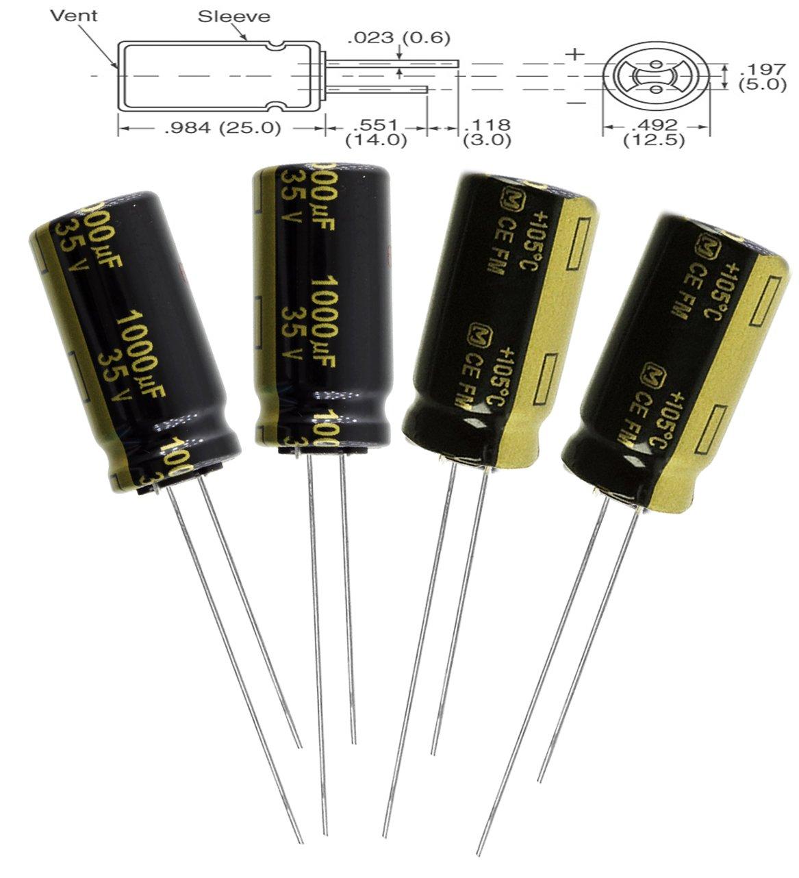 20 Aluminum Electrolytic Capacitors Leaded 1000uF 50V 20/%