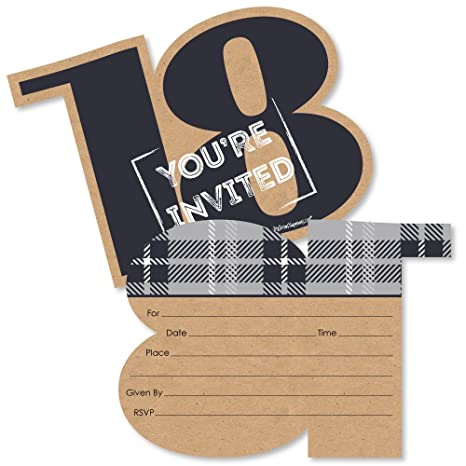 18th Milestone Birthday Time To Adult Shaped Fill In Invitations Birthday Party Invitation Cards With Envelopes Set Of 12