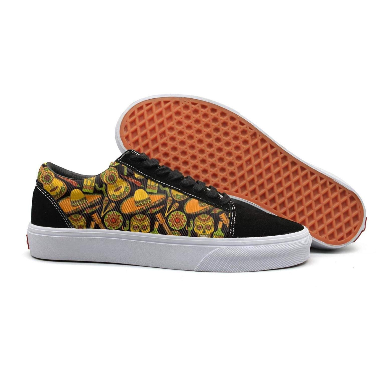 Armsttm Women Skate Shoes Traditional Mexican Skulls with Folk Guitar Classic Suede Sneaker lace-up Shoe by Armsttm