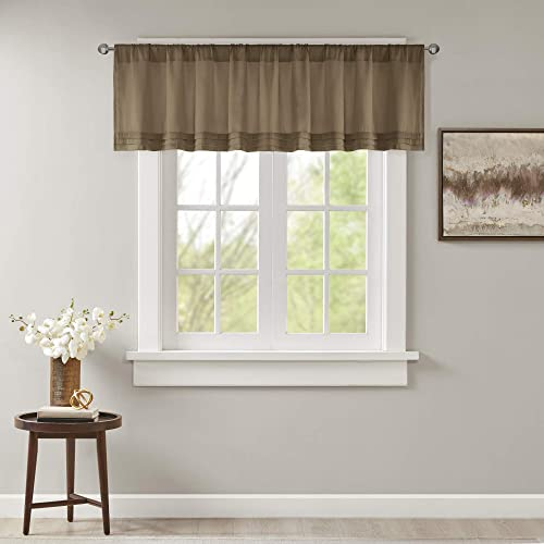 Emily Solid Pleated-Rod Pocket Valance , Classic Faux Silk Valances for Window , 50X18 , Bronze