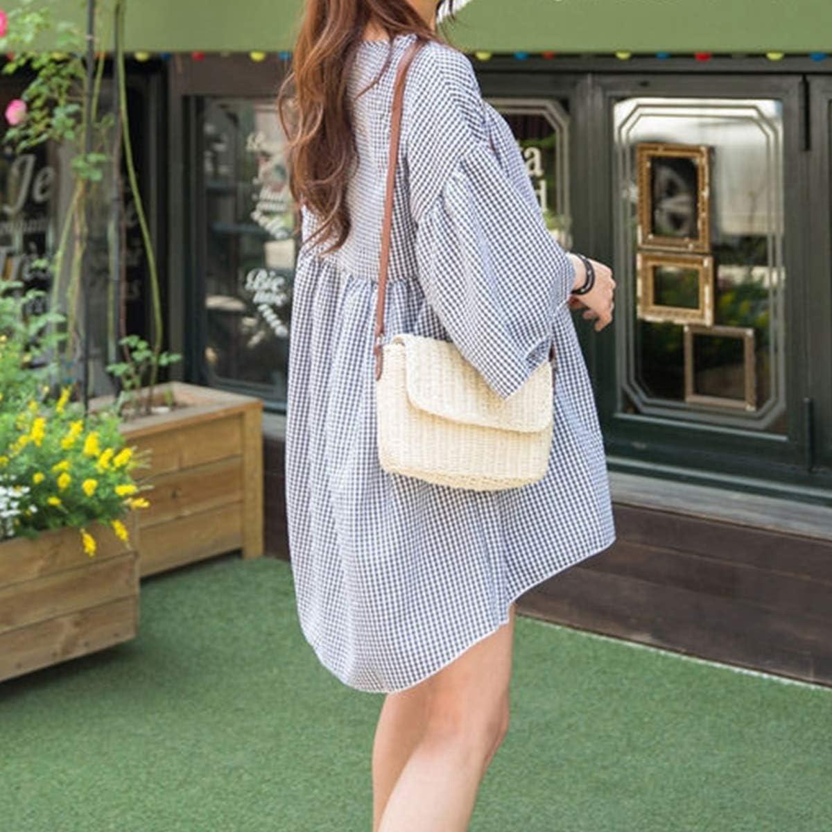 Retro Straw Portable Small Box Woven Womens Cross Body Bag Shoulder Messenger Satchel