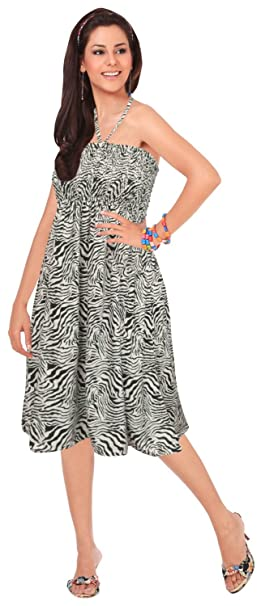 185271c4e9 LA LEELA Soft Printed Top Womens Skirt Strapless Tube Dress Black 719 One  Size