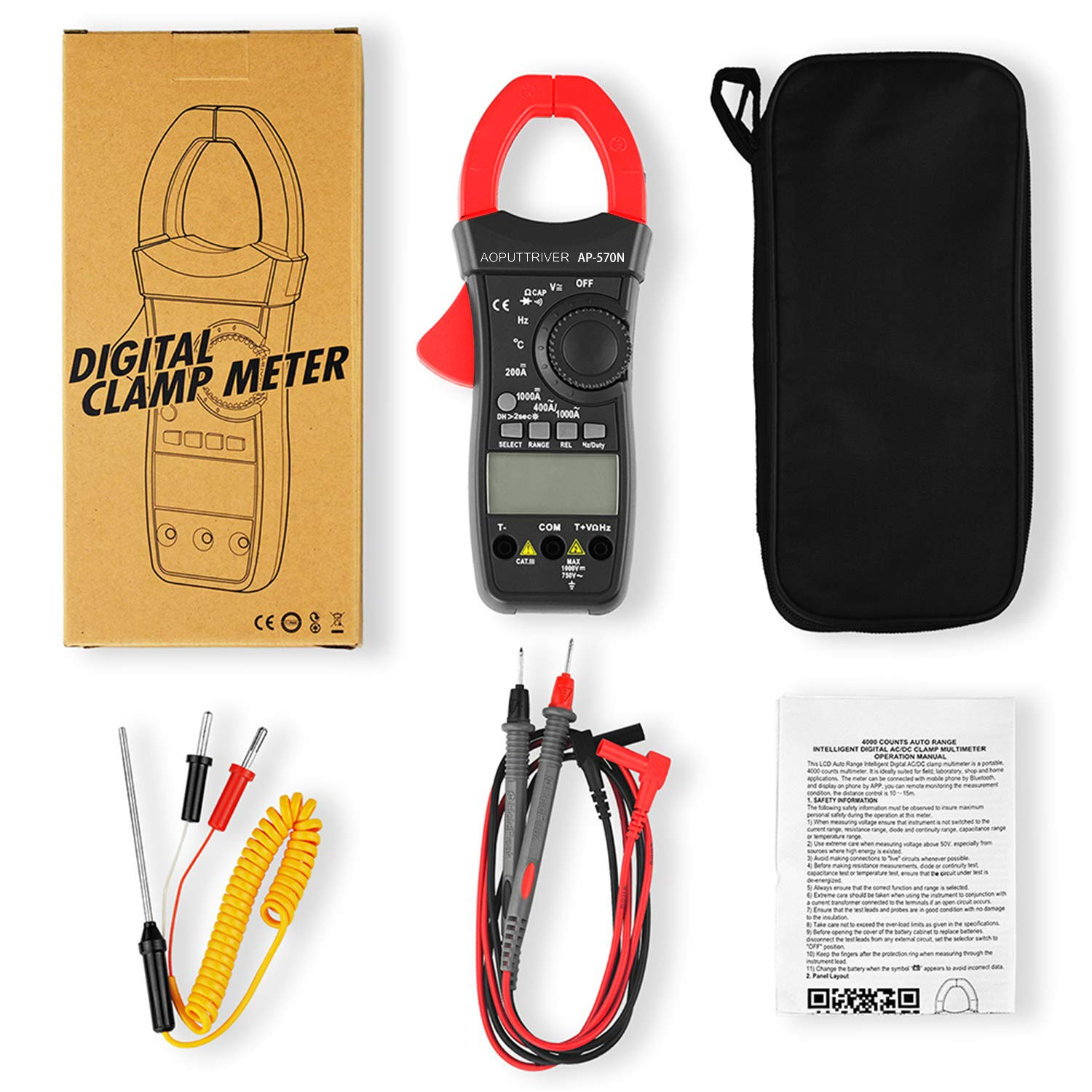 Holdpeak Digital Clamp Meter Multimeter HP-6205 Amp Meter Auto Ranging 6000 Counts TRMS Clamp Meter for AC/&DC Current Amperage Voltage Resistance Capacitance Temp Tester with Backlight