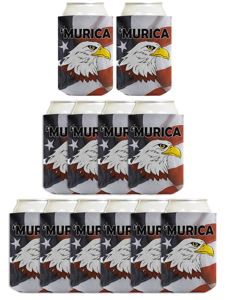 4th of July Funny Can Coolie Murica Bald Eagle America Flag 12 Pack Can Coolies