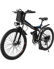 AMDirect Bicicletta da Montagna Elettrica Pieghevole con Ruote di 26 Pollici Batteria Litio di Grande Capacità 36V 250W Sospensione Completa Premium e Cambio Shimano