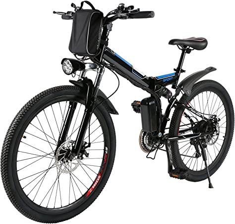 AMDirect Bicicleta de Montaña Eléctrica Bici Plegable Ebike con Rueda de 26 Pulgadas Batería de Litio de Gran Capacidad 36V 250W 21 Velocidades ...