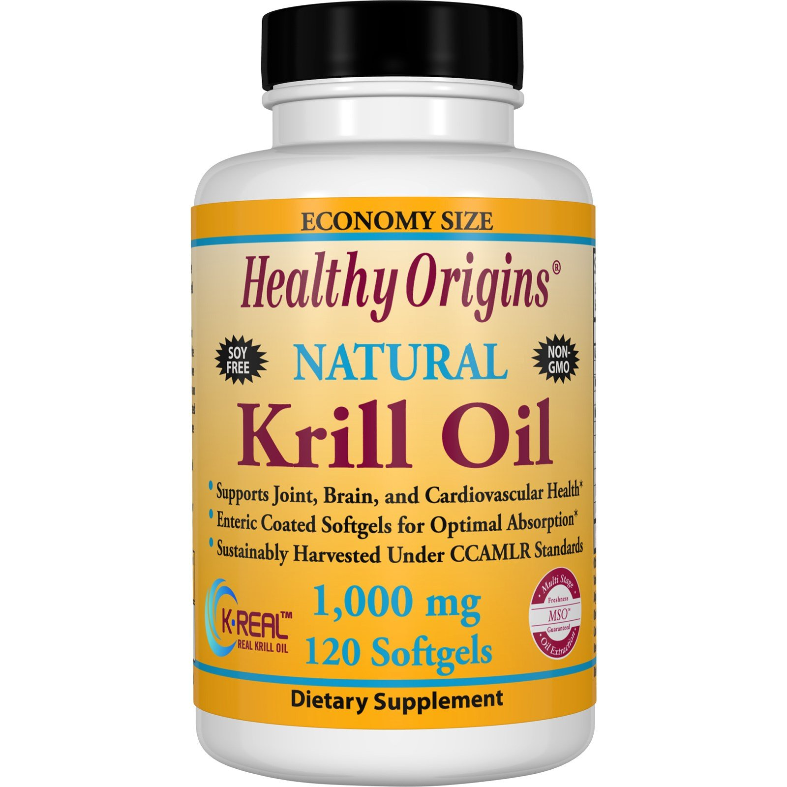Healthy Origins, Krill Oil, Natural Vanilla Flavor, 1,000 mg, 120 Softgels - 3PC