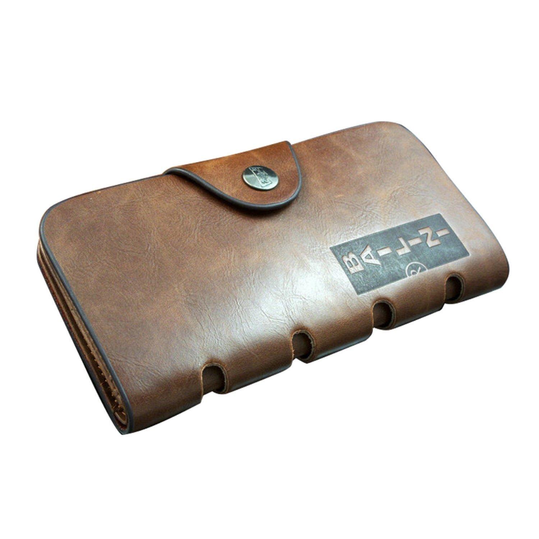 Jacentown ® larga Cartera de piel para Hombre Cuero de Vaca suave Bifold de múltiples Tarjetas Bolsillo Wallet Monedero: Amazon.es: Equipaje