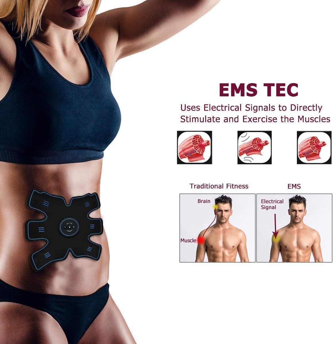 F2-Elettrostimolatore Muscolare EMS,Cinghia tonificante Addominale con,Addominali Attrezzi ABS Trainer,ABS Stimulator Machine Trainer Addome per//Braccio//Gambe//Waist Fitness per Uomo e Donna