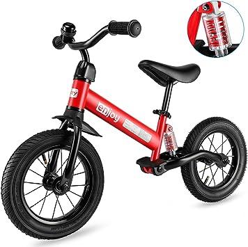 besrey Bicicleta sin Pedales Rueda de Goma Inflable Bicicleta Sin Pedales con Amortiguador Central - Rojo: Amazon.es: Juguetes y juegos