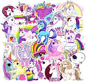 Laptop Stickers, Water Bottle Stickers for Laptop Water Bottles Hydro Flask Car Bumper Skateboard Guitar Bike Luggage Waterproof Vinyl Decals Cool Graffiti Stickers Pack (30 Pcs Unicorn Stickers)