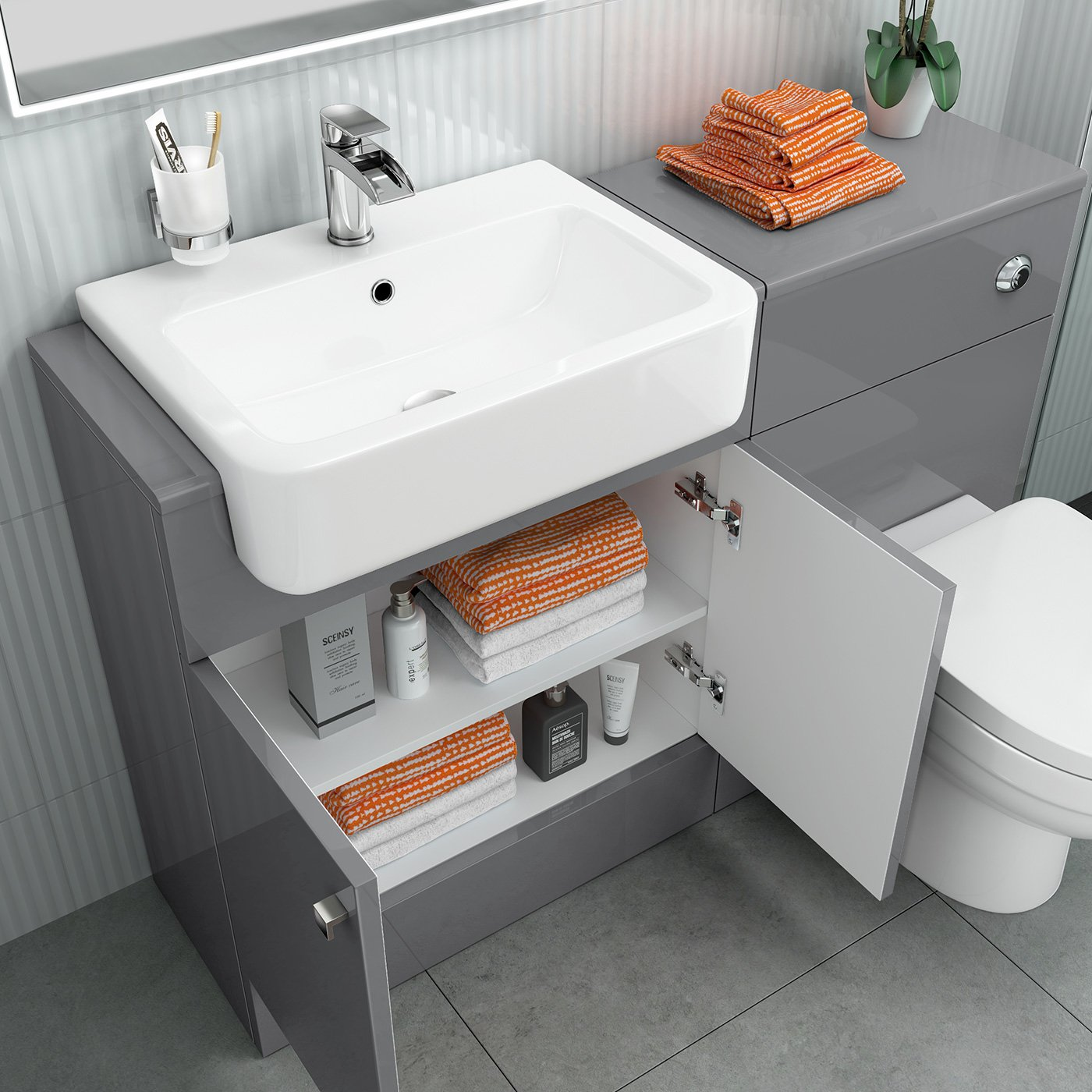 1160 Mm Modern Gloss Grey Bathroom Door Vanity Unit Basin Sink + Toilet  Furniture Set: Ibathuk: Amazon: Kitchen & Home