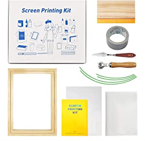 16 Pieces Silk Screen Printing Starter Kit,Include Wood Silk Screen Printing Frame,White Mesh,Screen Printing Squeegees,Inkjet Transparency Film, Mask Tape and Ink Knife for Screen Printing