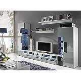 JUSThome ROMA Wohnwand Anbauwand Schrankwand Farbe: Weiß Matt / Grau Hochglanz