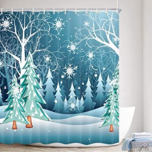 MERCHR Winter Snow Forest Fabric Shower Curtain, Snow Falling Teal Watercolor Landscape Oil Painting Polyester Fabric Waterproof Bath Curtain, Blue Green Bathroom Shower Curtains with Hooks, 69X70in
