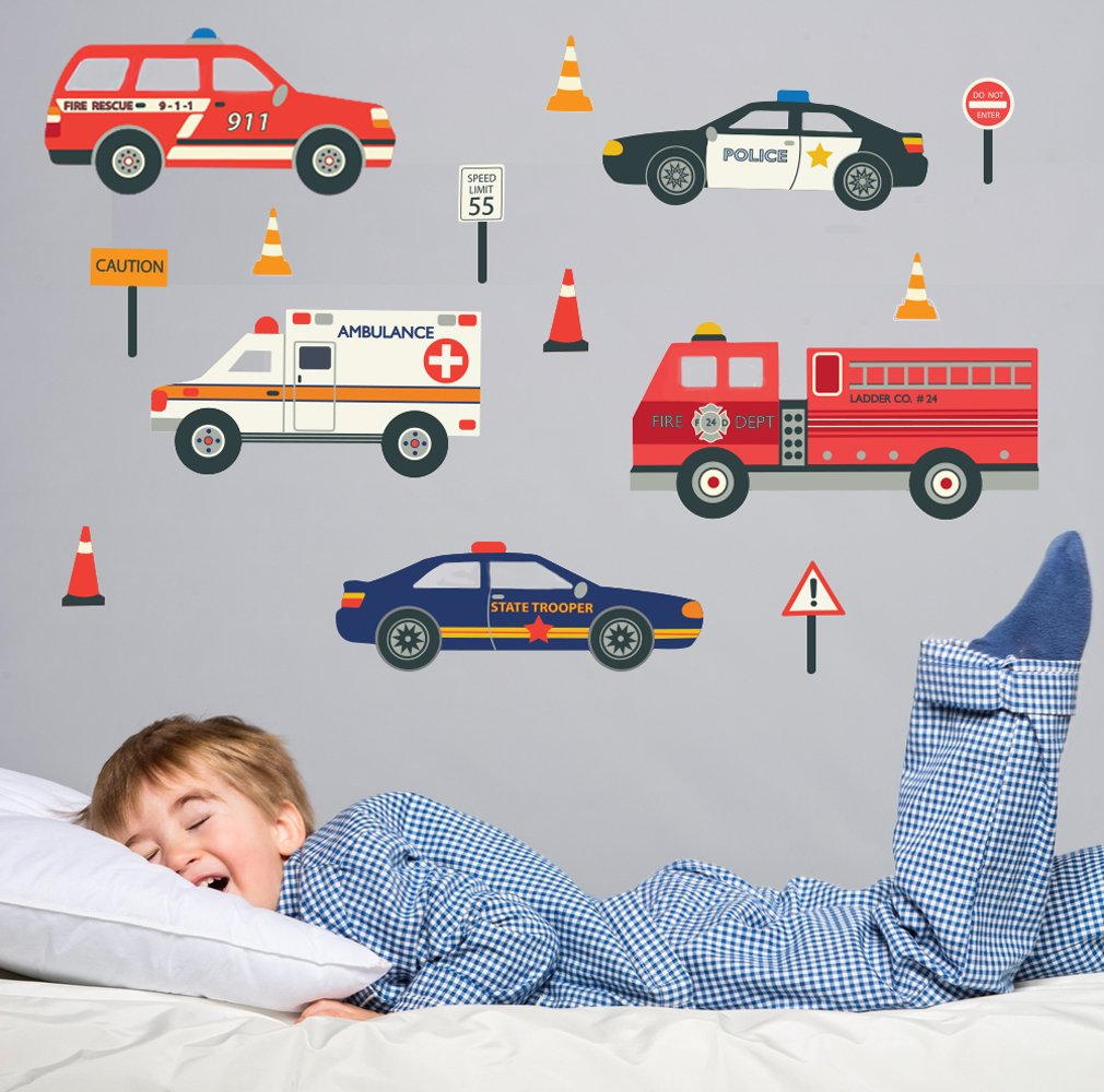 Car sticker design fire - Ems Emergency Vehicles Fire Trucks Police Cars Wall Decals Repositionable Peel And Stick Wall Decor Stickers Amazon Com