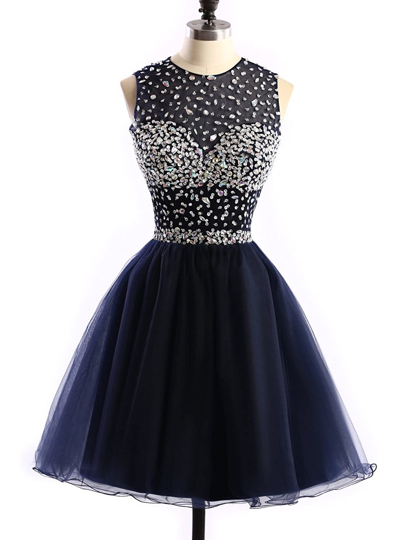 Dobelove Women's Jewel Neck Hollow Back Short Homecoming Party Dress