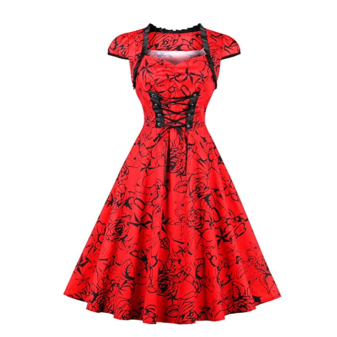 Otoño 1950 Vintage vestidos elegantes de color rojo con bandas de impresión Floral Lace-up