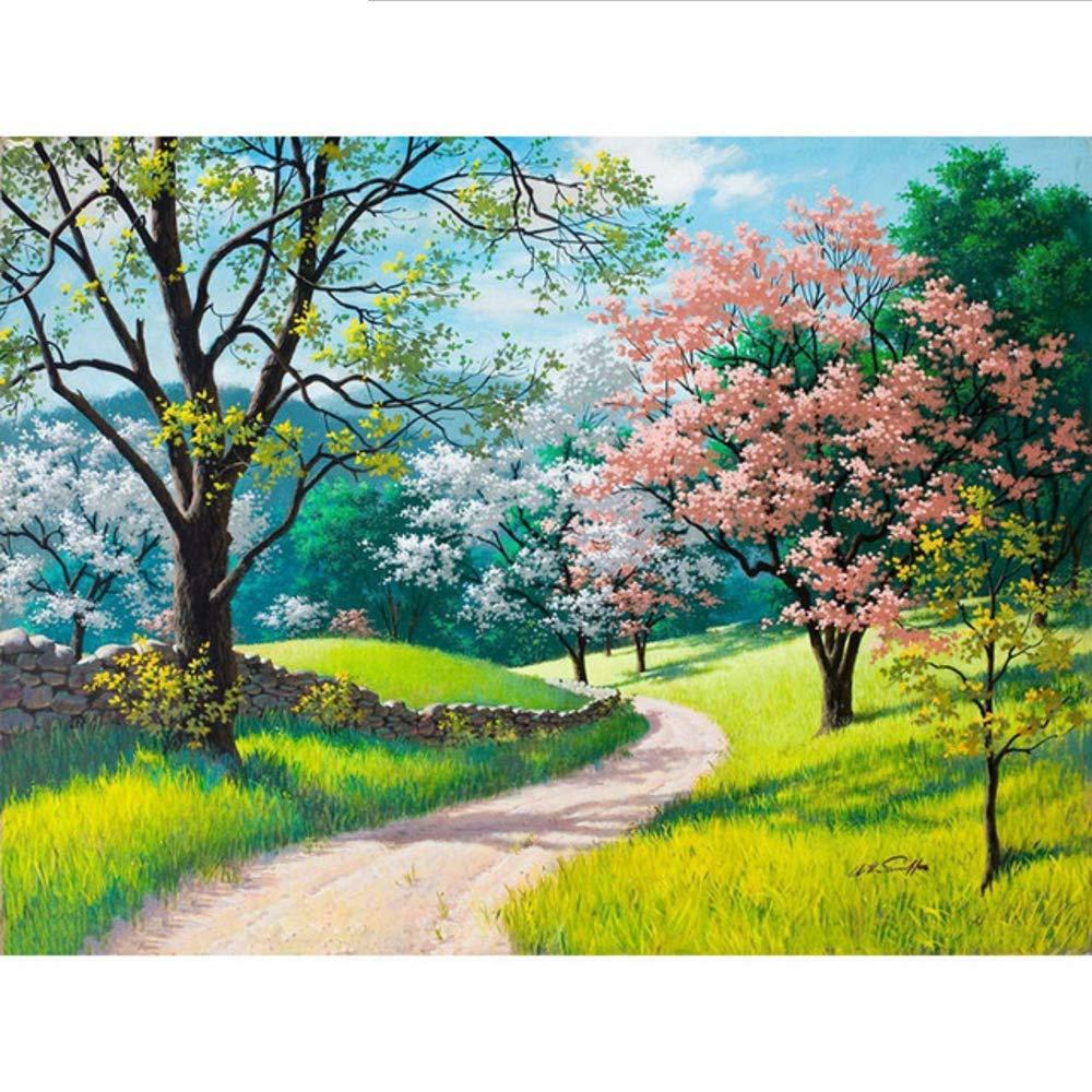 Waofe  Rahmen Kirschblüten Straße Diy Malen Nach Zahlen Kits Handgemalte Ölgemälde Wohnkultur Wandkunst Bild 40X50 Cm B07PS5JRV1 | Für Ihre Wahl