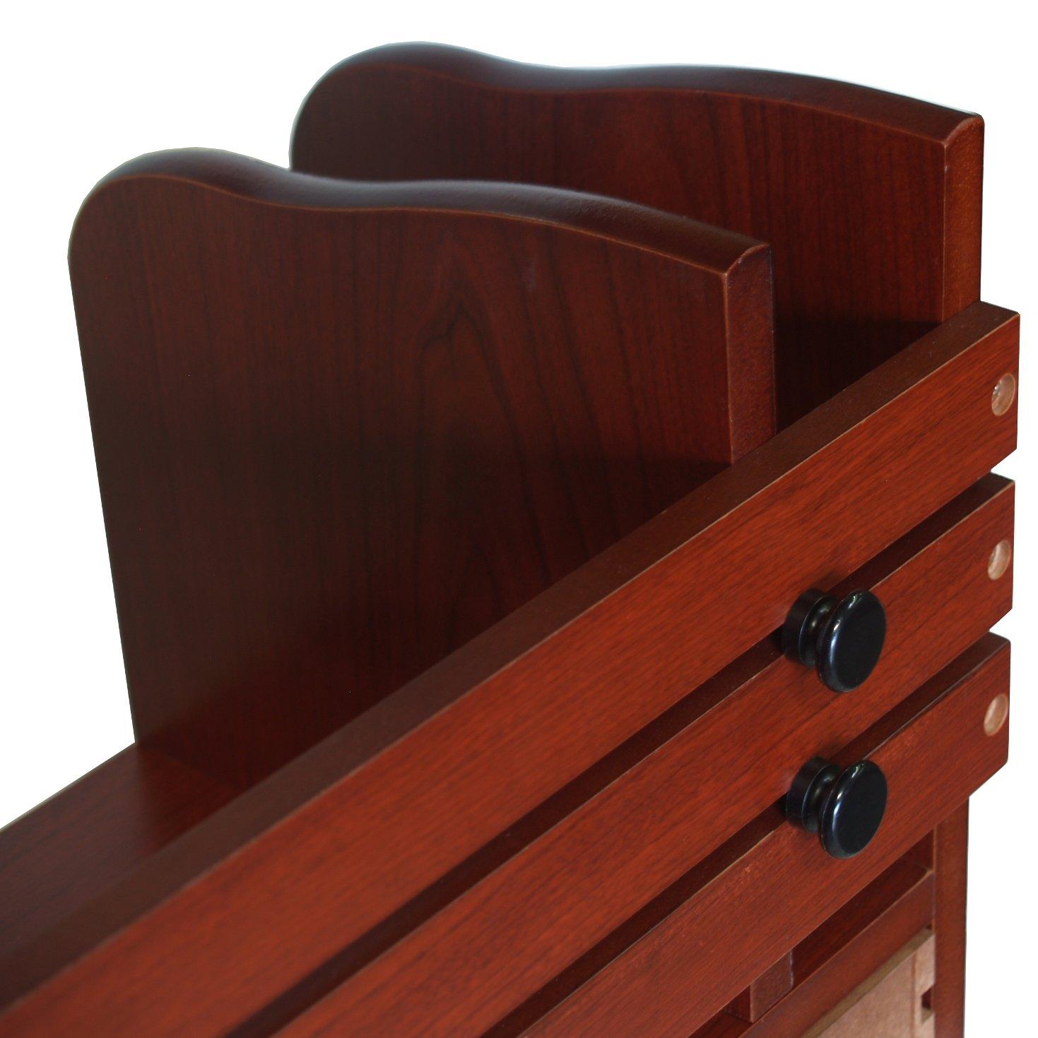 24 W x 8 D x 12 H Reddish Proman Products Renaissance Desktop Red Walnut Wood Book Rack Adjustable Drawer