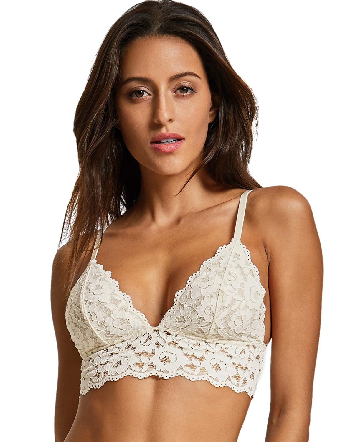 Dobreva Women's Removable Pads Wire Free Longline Cute Bra Lace Bralette