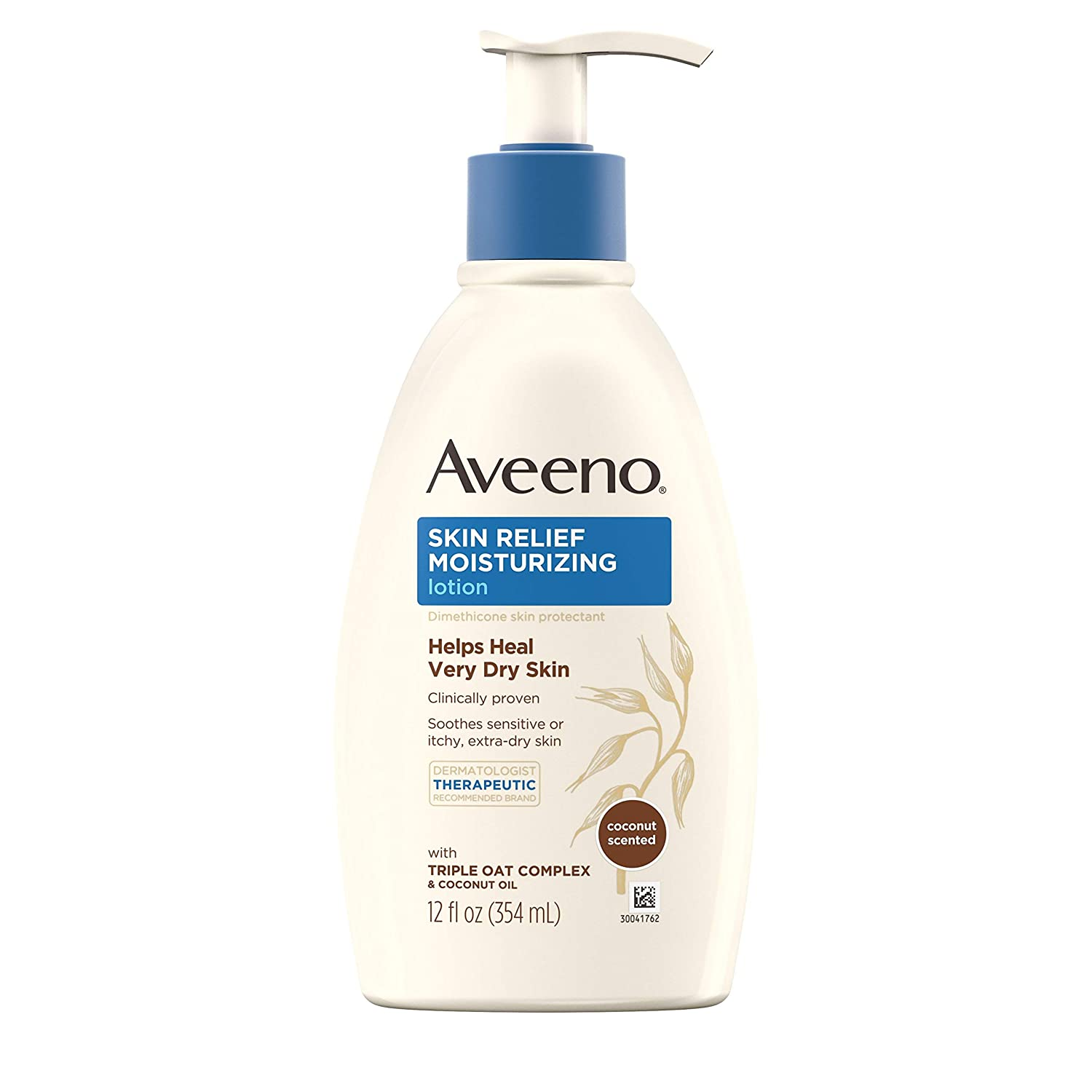 Aveeno Skin Relief Moisturizing Lotion with Coconut Scent & Triple Oat Complex, Dimethicone Skin Protectant for Sensitive & Extra-Dry Itchy Skin, 12 fl. oz