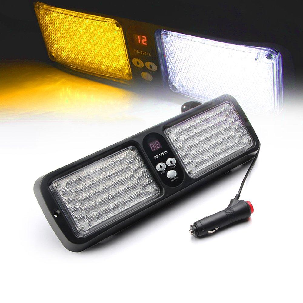 Xprite Blue 86 LED Windshield SunShield High Intensity LED Law Enforcement Emergency Hazard Warning Strobe Lights 52018-B
