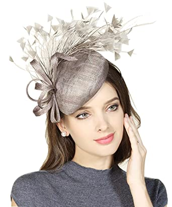 Edith qi Womens Handmade Feather Fascinators Hat Sinamay Flower ... 98c0b2217a8