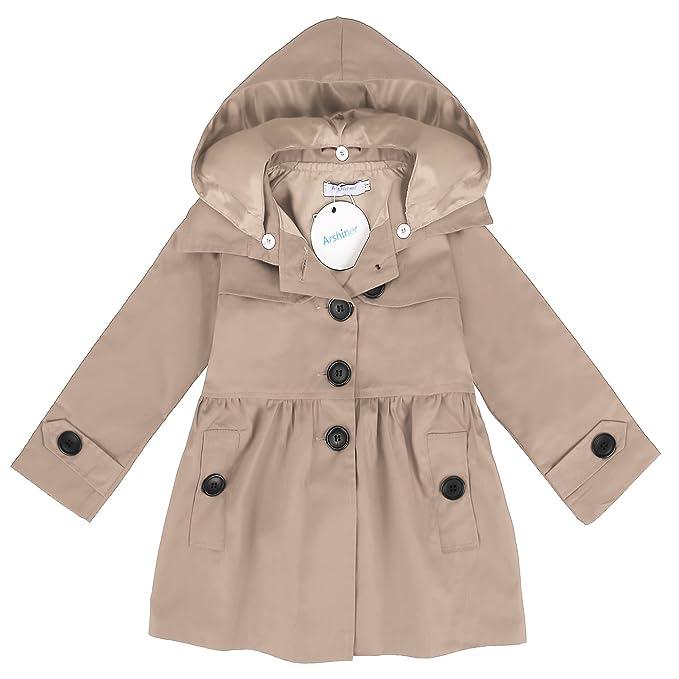Amazon.com: Arshiner Baby Girls Double-Breasted Trench Jacket Coat ...
