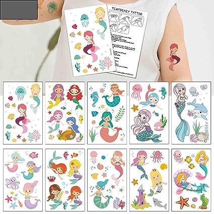 Amazon.com: Tatuajes temporales de sirena (80 diseños ...