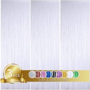 3Pcs White Metallic Tinsel Foil Fringe Curtains, 3.28ft x 6.56ft White Photo Booth Backdrop Curtain,Photo Booth Props,Ideal Bachelorette Party Supplies, Birthday, Graduation, Christmas,New Year Decor