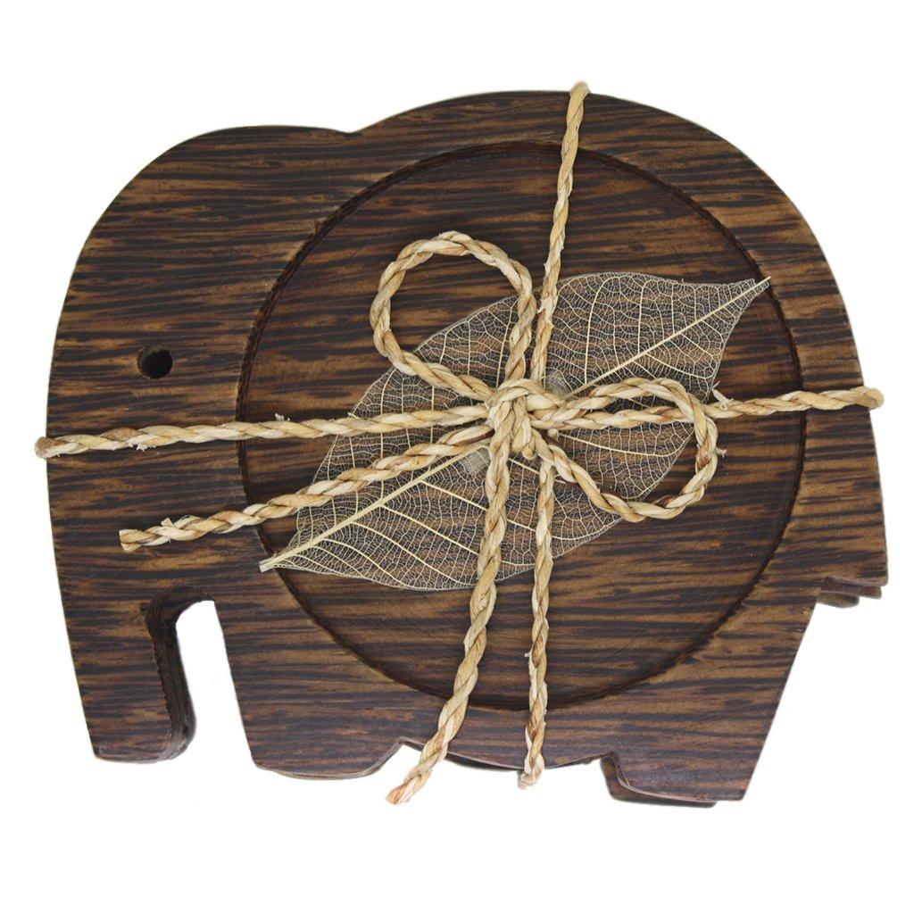 Elephant Wood Drink Table Coasters | Teacups and Saucer Sets - Decorations - Coaster Set of 3PCS AMARA Coasters003