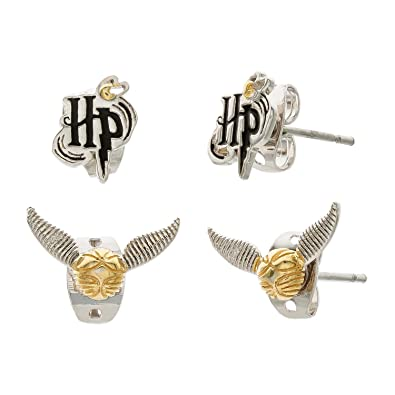 Amazon Com Harry Potter Women S Silver Plate Set Of Two Stud