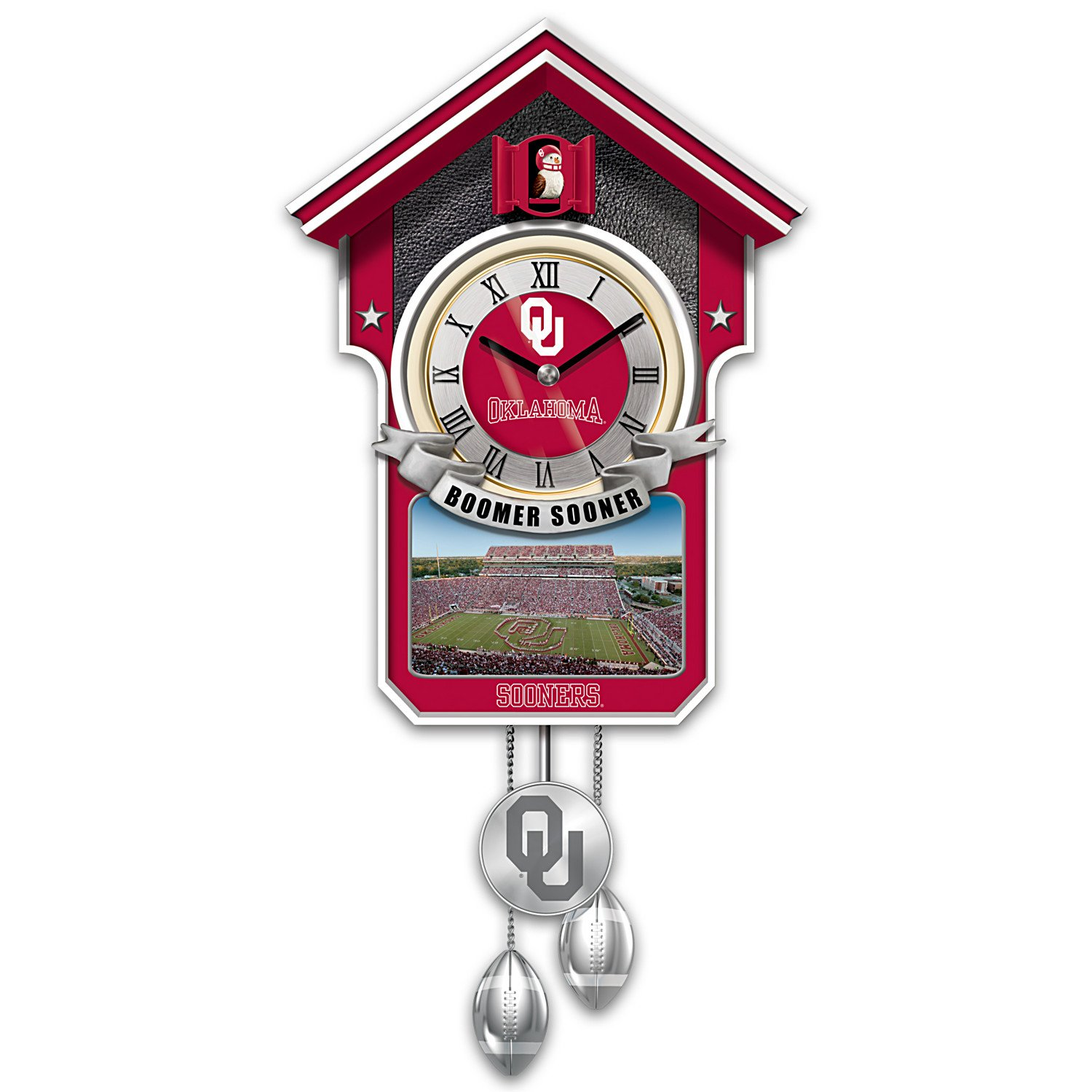 University Of Oklahoma Sooners College Football Cuckoo Clock: Bradford Exchange by The Bradford Exchange