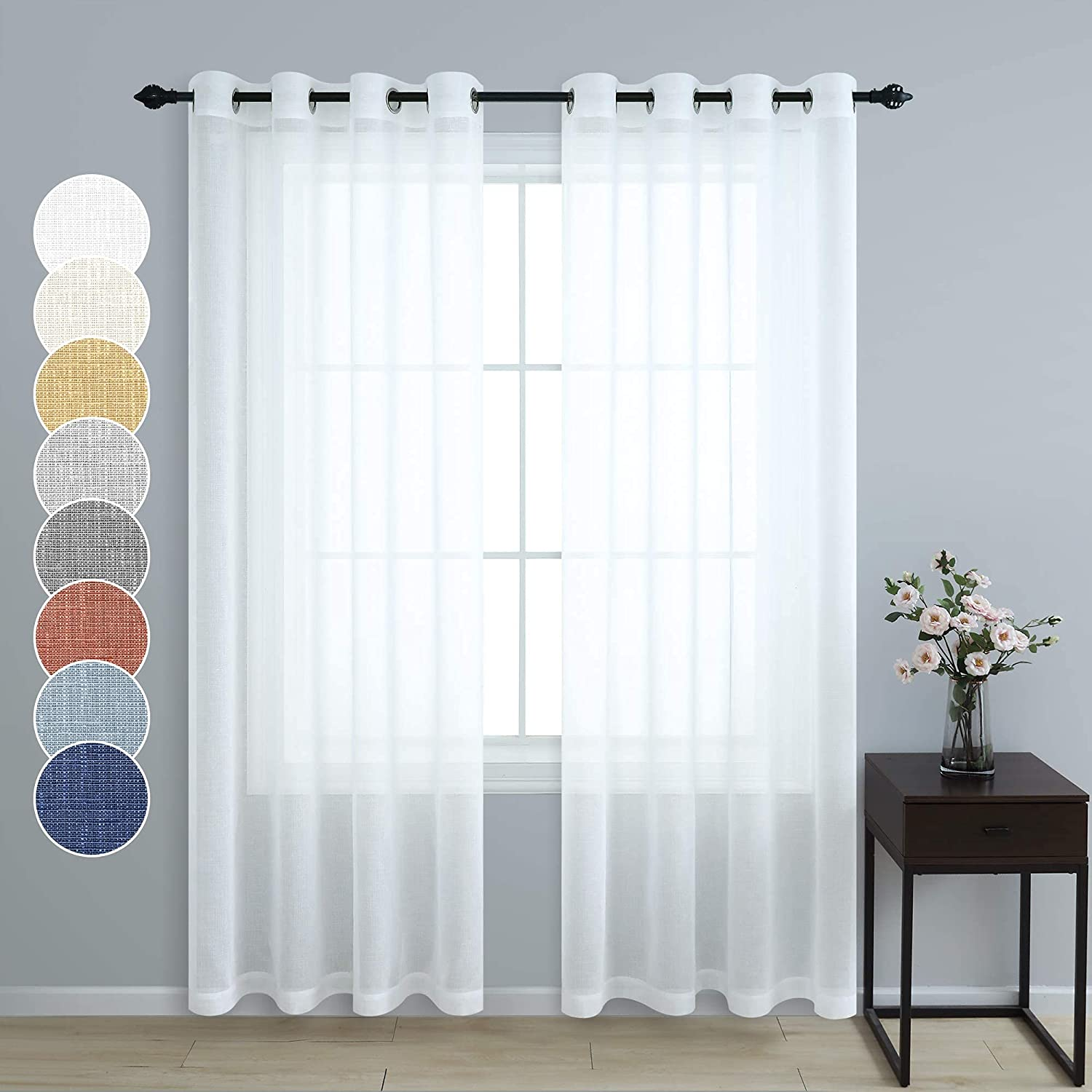 Pitalk White Sheer Curtains 84 Inches Long for Living Room 2 Panel Grommet Window Drape Lightweight Semi Translucent Cotton Linen Look Lace Curtain for Bedroom Shabby Chic Farmhouse Decor 52x84 Length