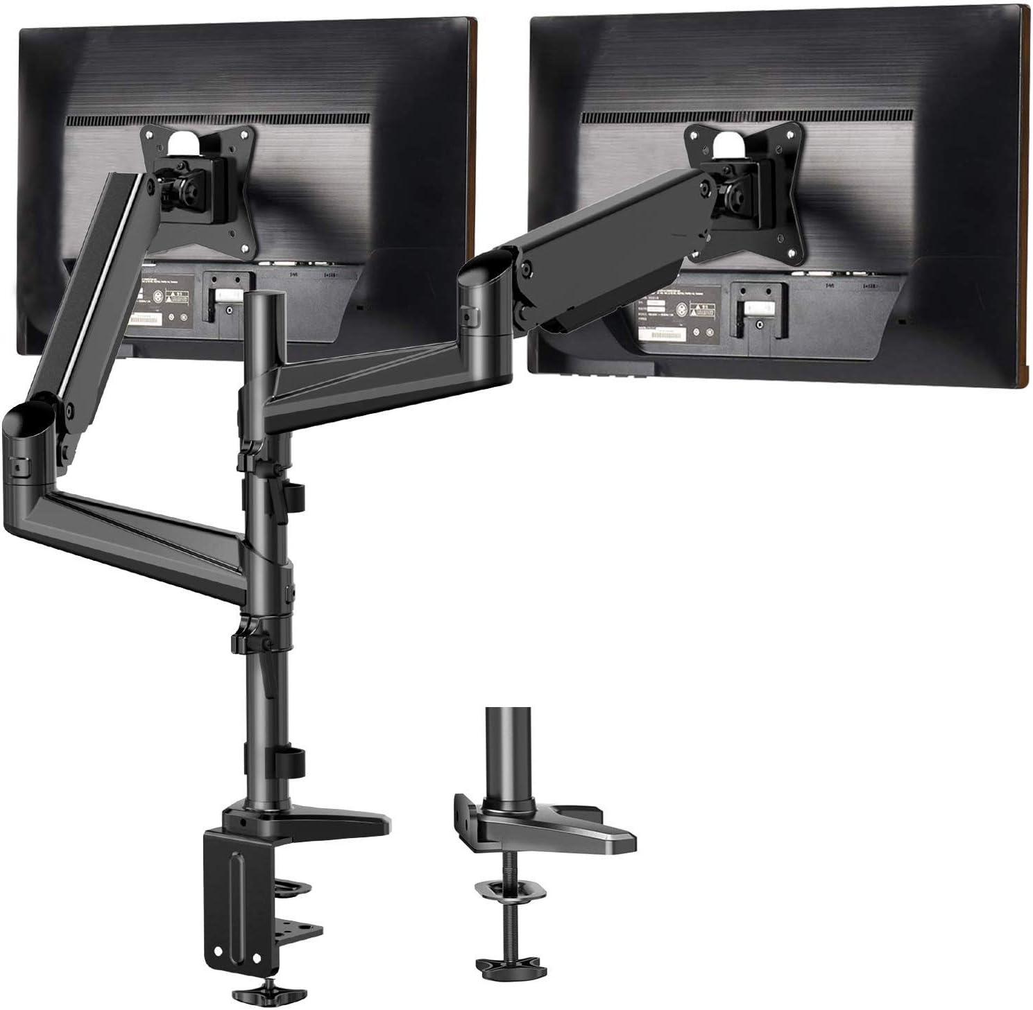 HUANUO Soporte Dual de Monitor de Aluminio Pantallas de 13-32 '', Altura Ajustable, Brazo Giratorio 360°de Resorte de Gas, Dos Métodos Opcionales de Montaje, Soporte VESA 75-100 mm y Peso 1-8 kg