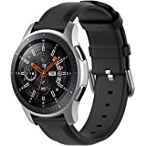 TERSELY Leather Band Strap for Samsung Gear S3 / Galaxy Watch 46mm / Watch 3 45mm, 22mm Quick Release Stainless Steel Buckle Replacement Bands for Samsung S3 Frontier/Classic Smartwatch - Black