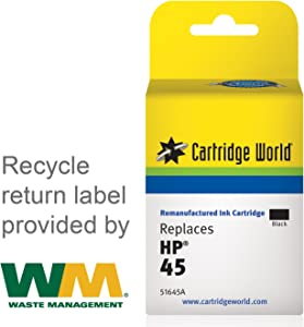 Cartridge World Remanufactured Ink Cartridge Replacement for HP 45 (Black)
