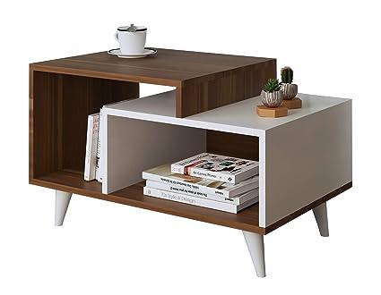 Tavolino Salotto In Noce.Homidea Sage Tavolino Da Salotto In Legno Di Noce Design Moderno Colore Bianco