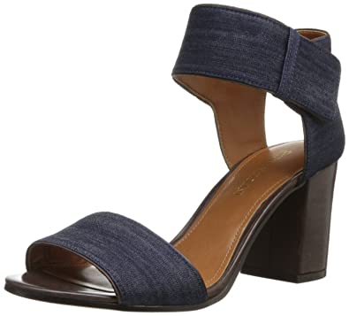 bd0e386038 Amazon.com | Enzo Angiolini Women's Gwindell, Navy/Dark Brown, 9.5 M US |  Heeled Sandals