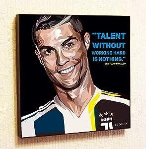 Cristiano Ronaldo Juventus Framed Poster Pop Art for Decor with Motivational Quotes Printed (10x10 (25.4cm x 25.4cm))