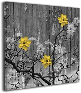 Lib Canvas Wall Art Painting Yellow Grey Rustic Modern Floral Wall Art Prints Home Decorations for Living Room,Decorative Wall, Bathroom Office Decor Artwork Ready to Hang
